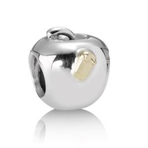 Pandora Retired Apple With A Gold Worm